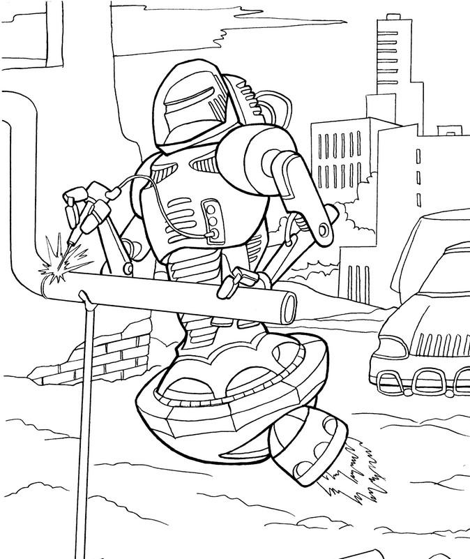 Детская раскраска робот