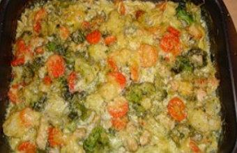 Овощная запеканка с курицей в духовке